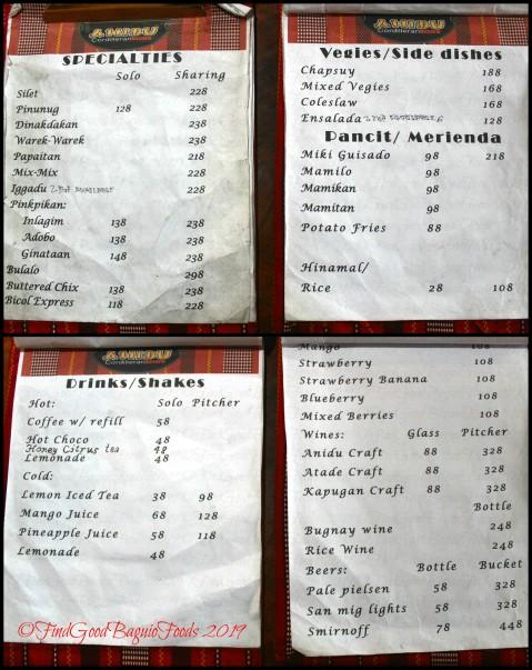Baguio Anidu Cordilleran Bistro 2019 menu