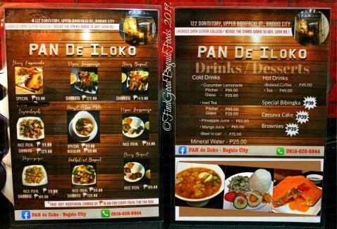 Baguio PAN de Iloko 2019 menu
