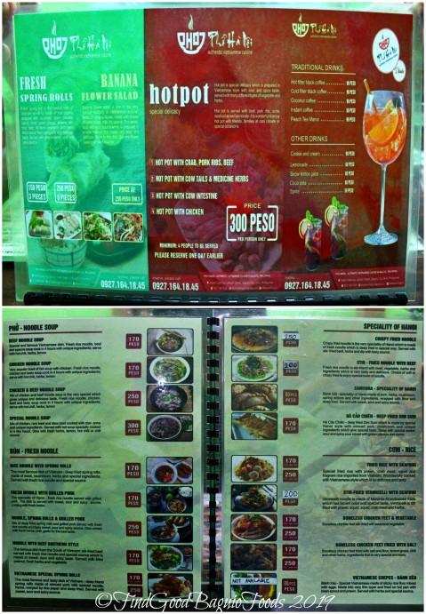 Baguio Pho Hanoi Vietnamese Restaurant 2019 menu
