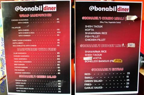 Baguio Bonabil Diner 2019 menu