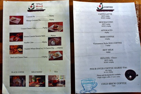 Baguio The Red Soil Cafe and Coffee Roastery 2019 menu