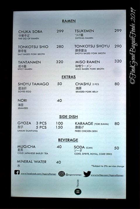Baguio Agara Ramen 2019 menu