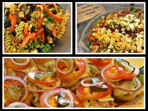 Baguio Mario's Restaurant 2019 roasted eggplant salad, harvest cob salad, ham and potato salad on baguette