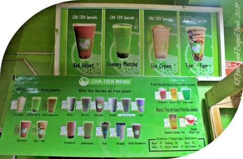 Baguio Cha Tien Milk Tea Shop 2019 menu