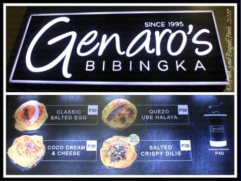 Baguio Genaro's Bibingka 2019 menu