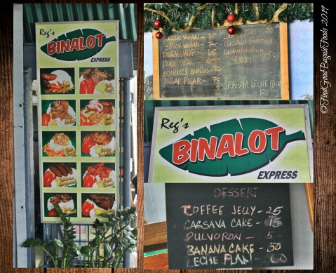 Baguio Reg's Binalot Express 2019 menu