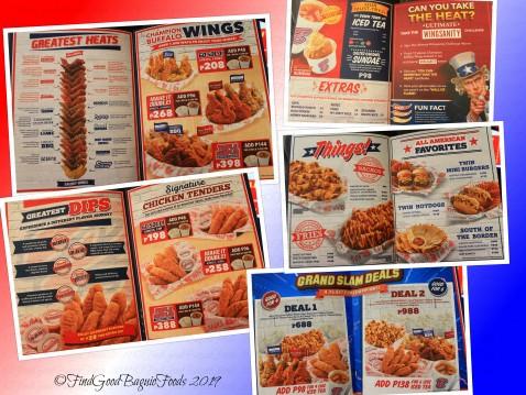 Baguio Buffalo's Wings N' Things 2019 menu