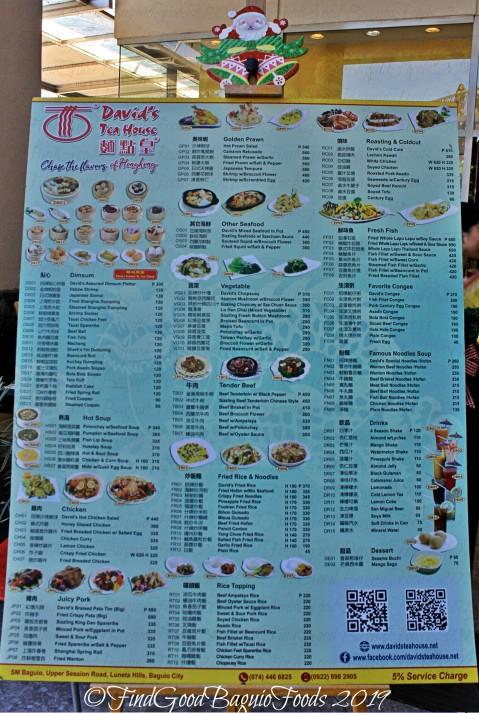 Baguio David's Tea House 2019 menu