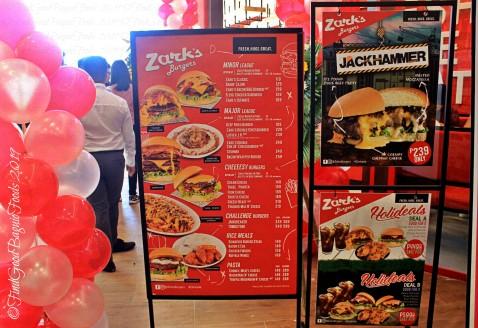 Baguio Zark's Burger 2019 menu