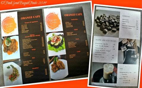 Baguio Orange Cafe 2019 menu