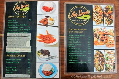 Baguio Big Spoon Fusion Diner 2020 menu