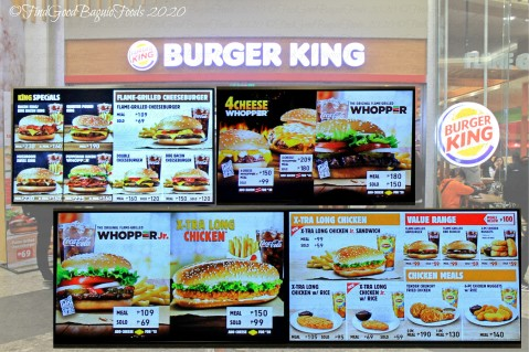 Baguio Burger King 2020 menu