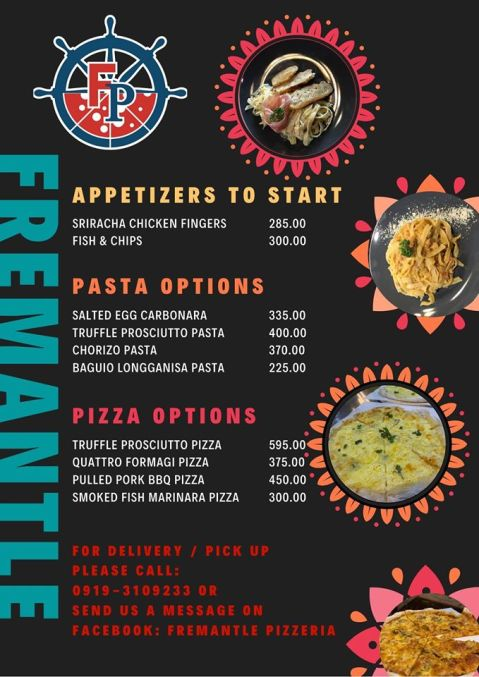 Baguio Fremantle Pizzeria 2020 menu