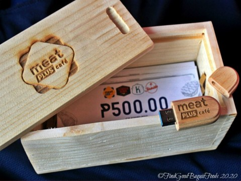 Baguio Meat Plus Cafe 2020 parting gift - Meat Plus wooden box, USB and GCs